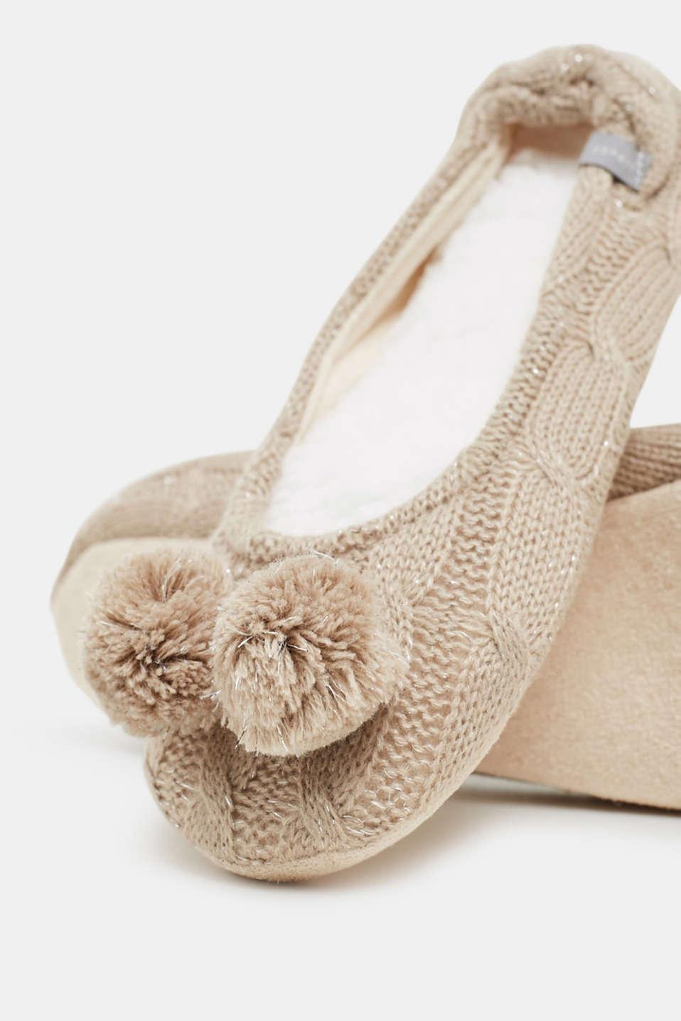 Slip-ons with a faux fur sole, NUTMEG MELANGE, detail image number 1