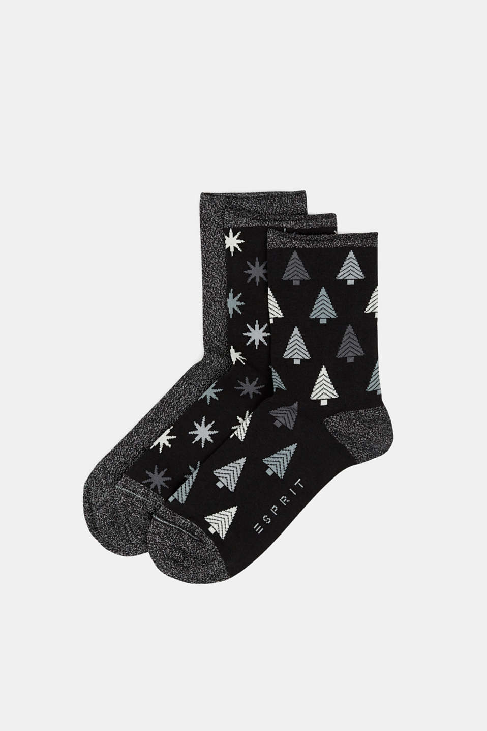 3-pack of socks with glitter accents, BLACK, detail image number 0