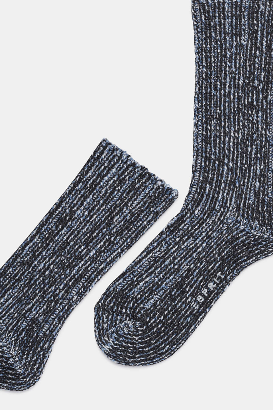 With wool and cashmere: knitted socks, BLACK, detail image number 1