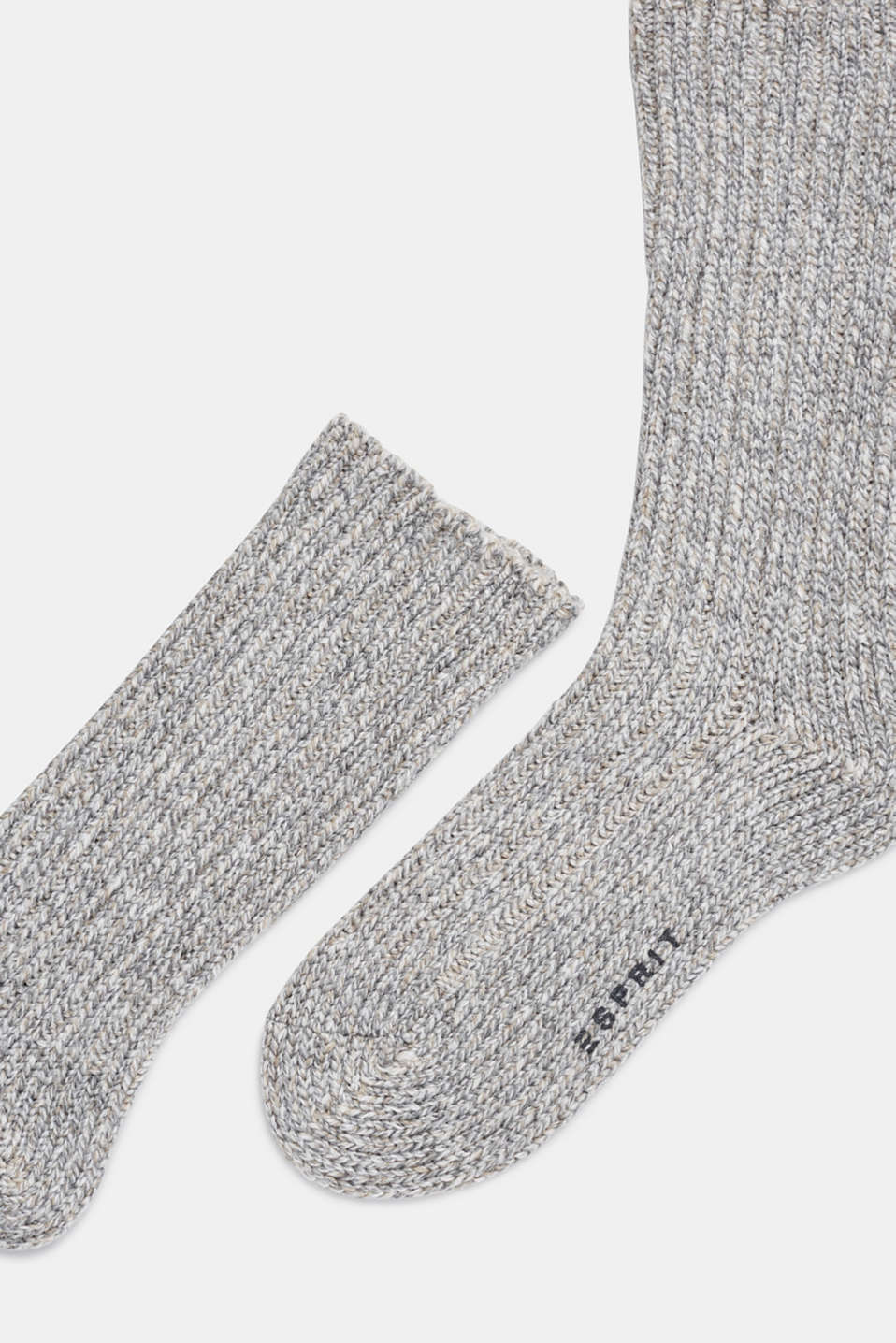 With wool and cashmere: knitted socks, LIGHT GREY, detail image number 1