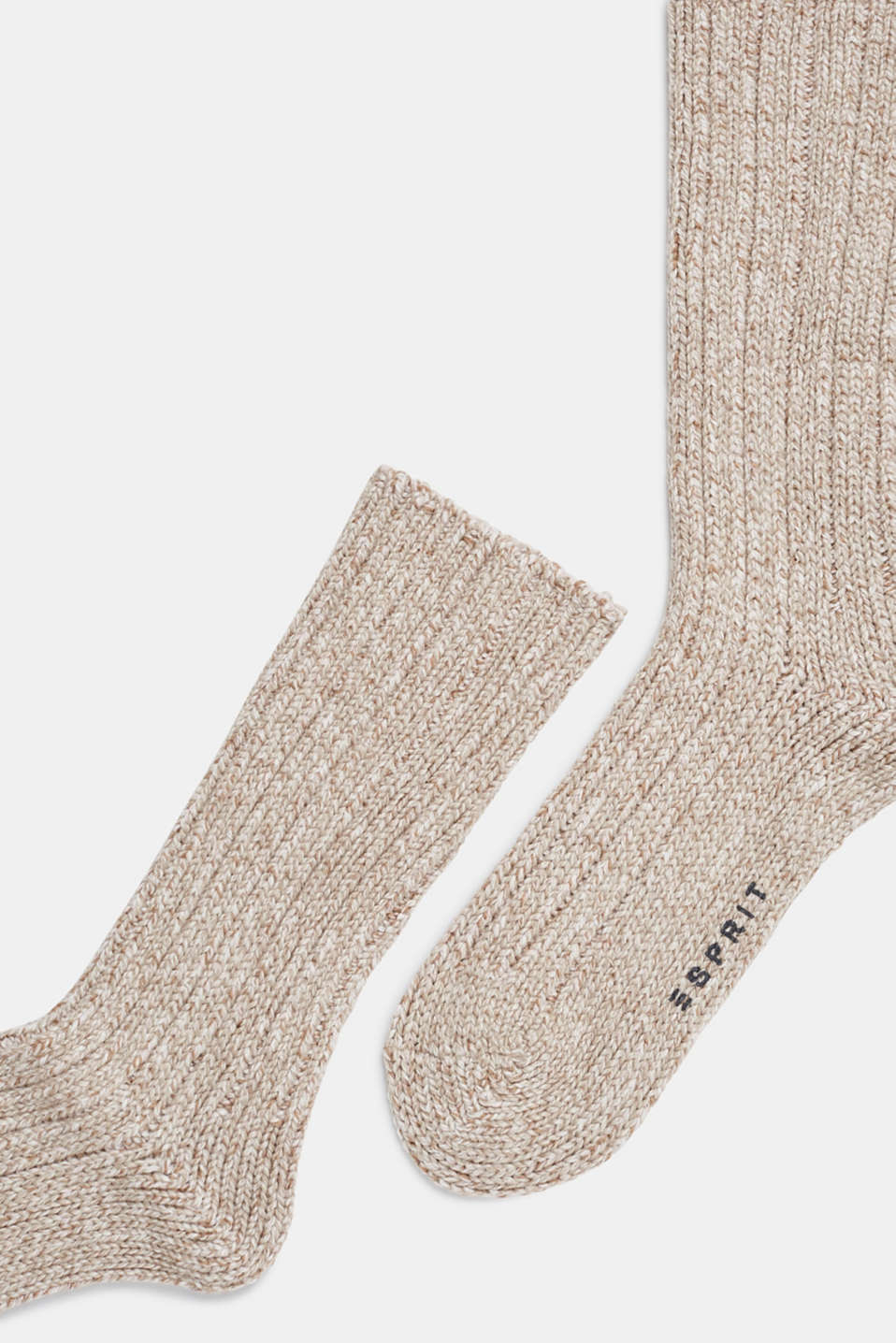 With wool and cashmere: knitted socks, NUTMEG MELANGE, detail image number 1
