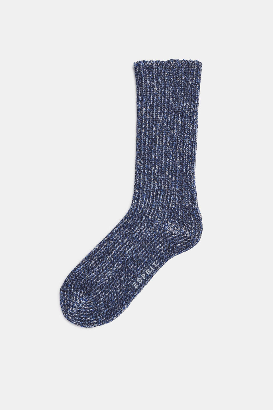 With wool and cashmere: knitted socks, MARINE, detail image number 0