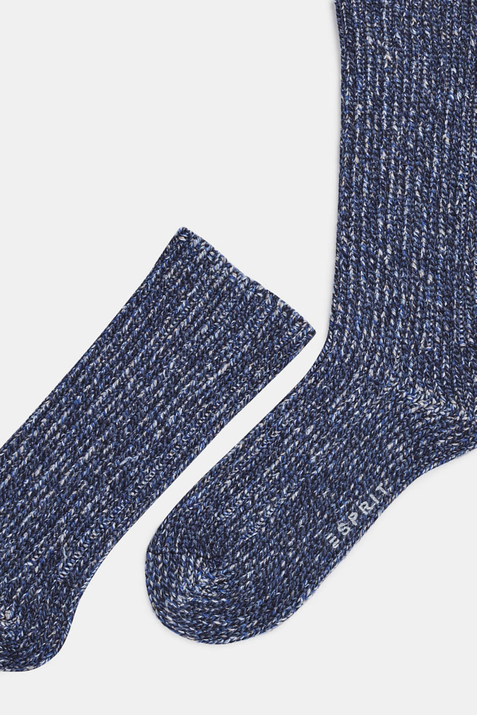 With wool and cashmere: knitted socks, MARINE, detail image number 1