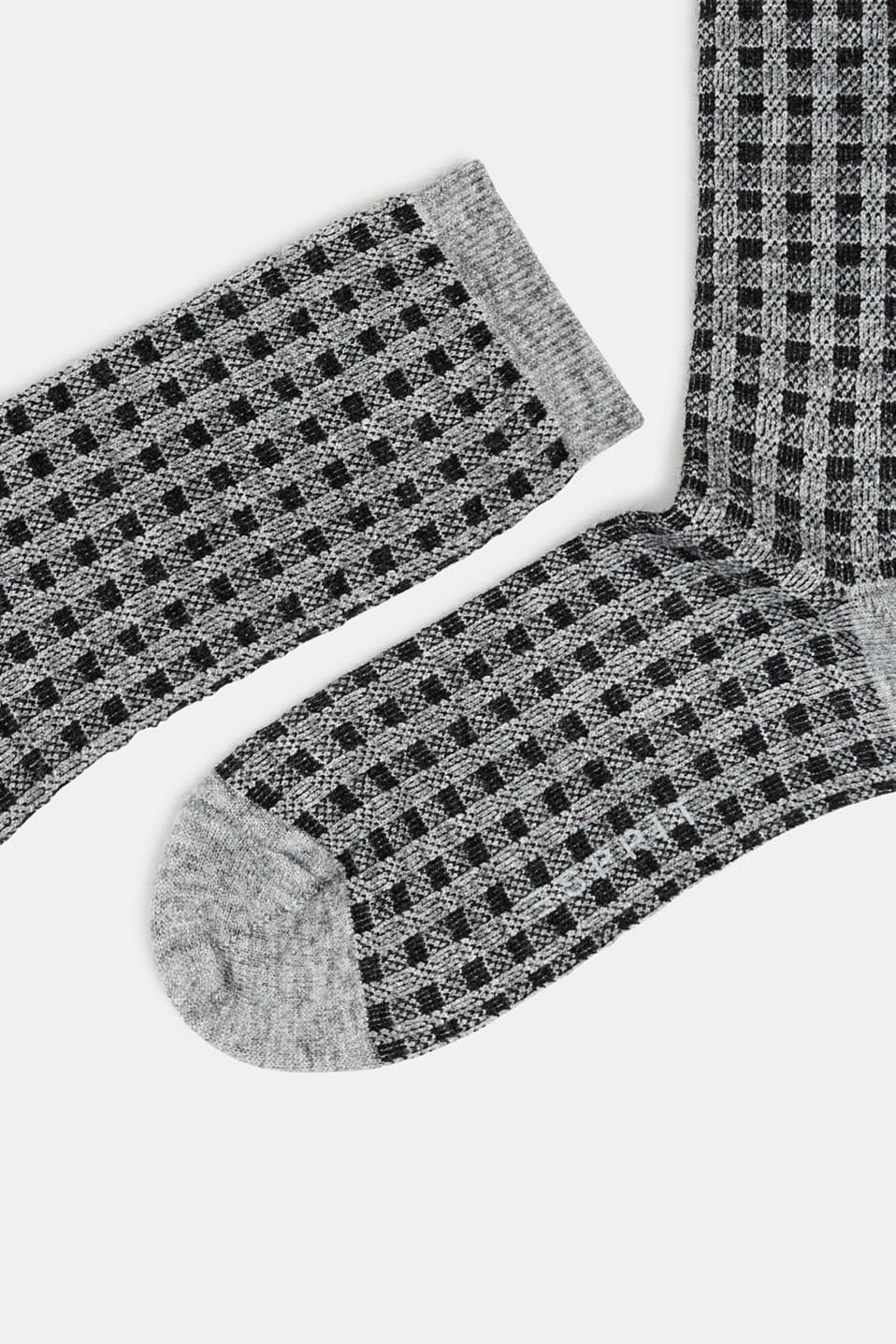 Socks with a fine check pattern, LIGHT GREY MELANGE, detail image number 1