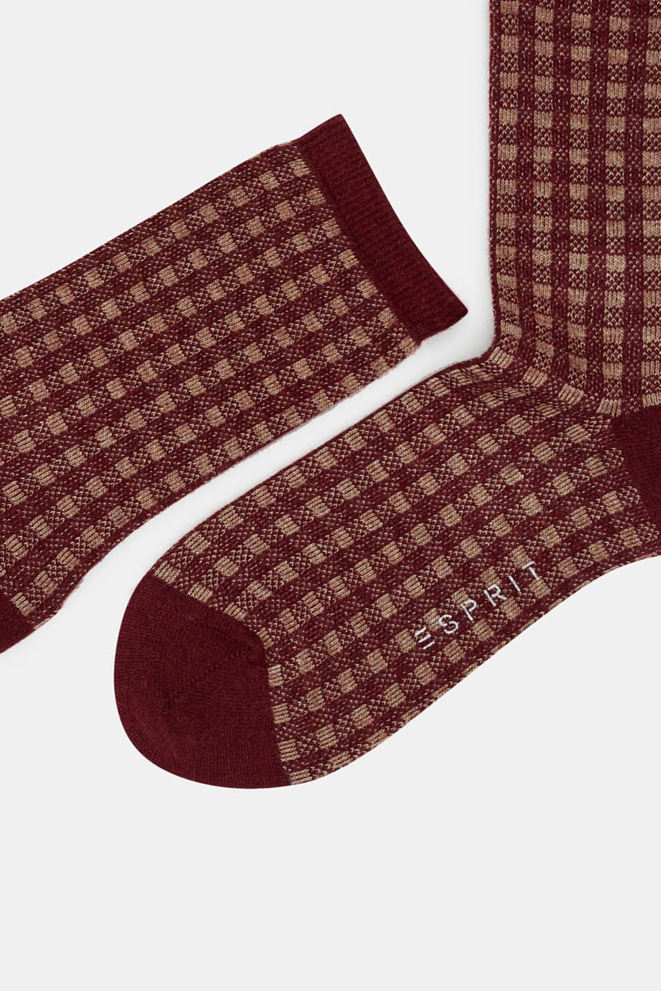Socks with a fine check pattern, BORDEAUX, detail image number 1