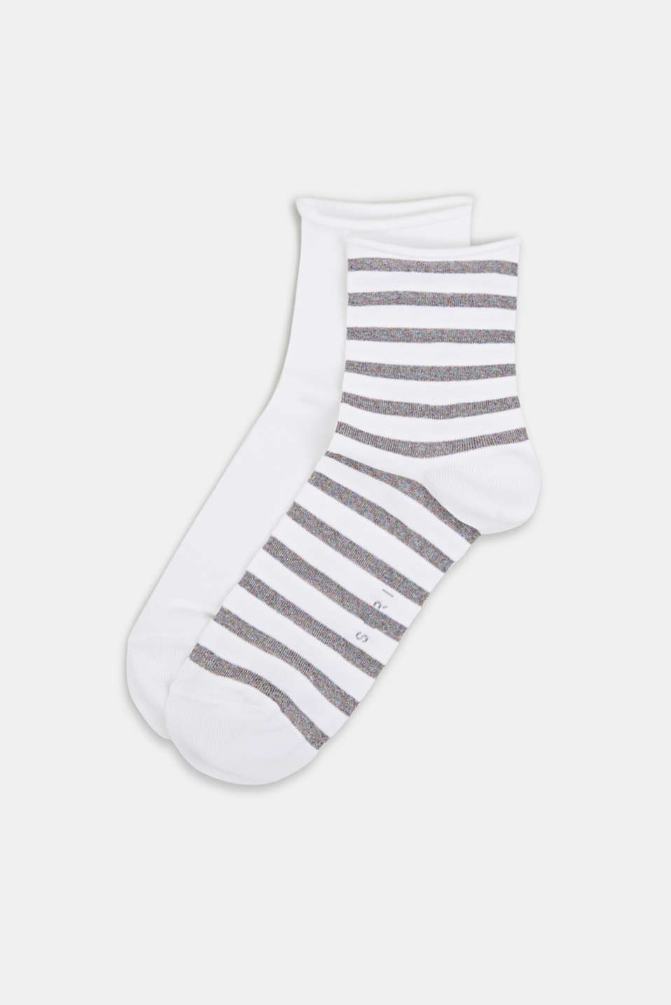 Double pack: plain and striped socks, WHITE, detail image number 0