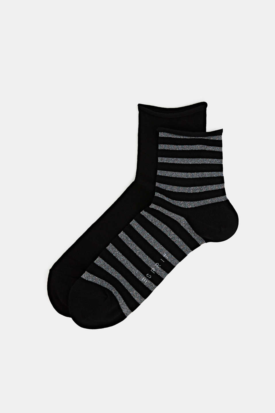 Double pack: plain and striped socks, BLACK, detail image number 0