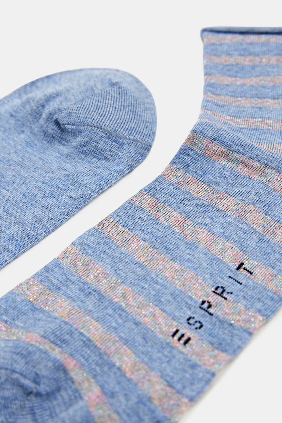 Double pack: plain and striped socks, BLAU MEL., detail image number 1