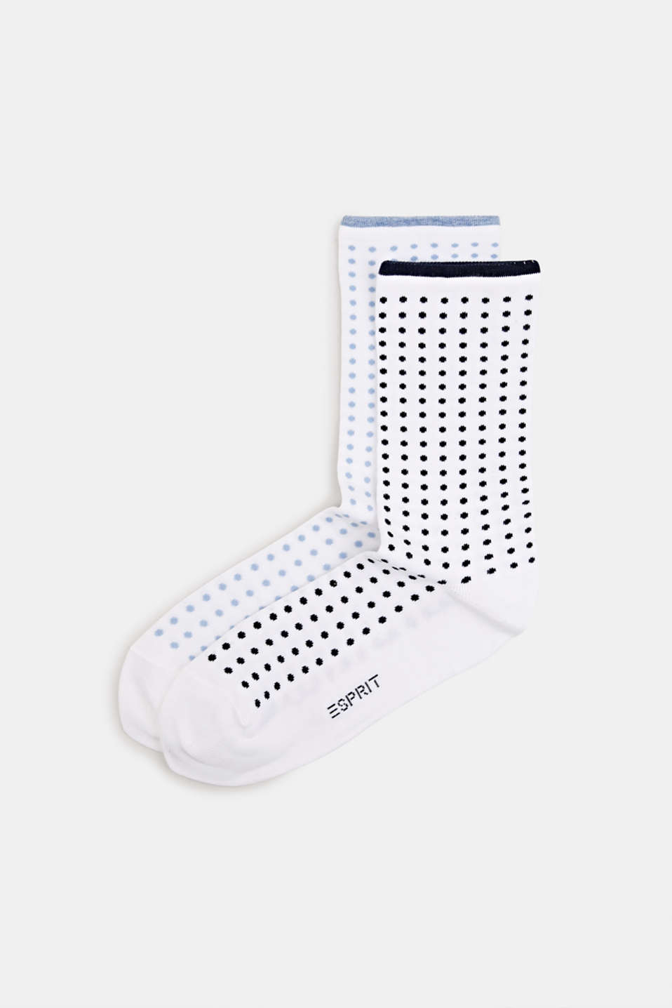 Double pack of socks with a polka dot pattern, WHITE, detail image number 0