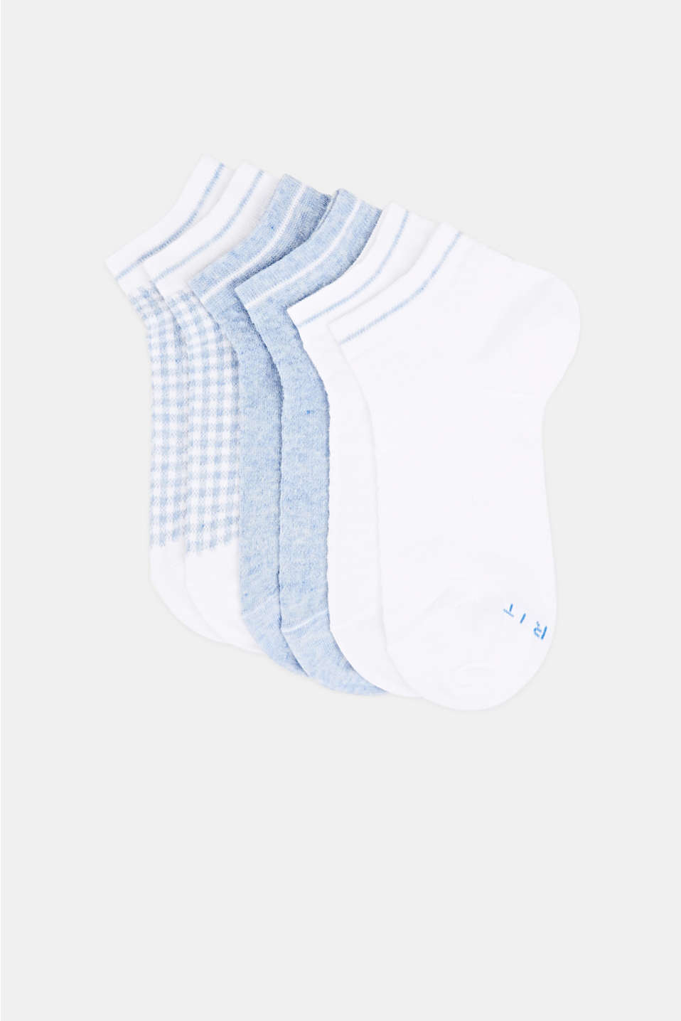 Houndstooth socks in a triple pack, WHITE, detail image number 0