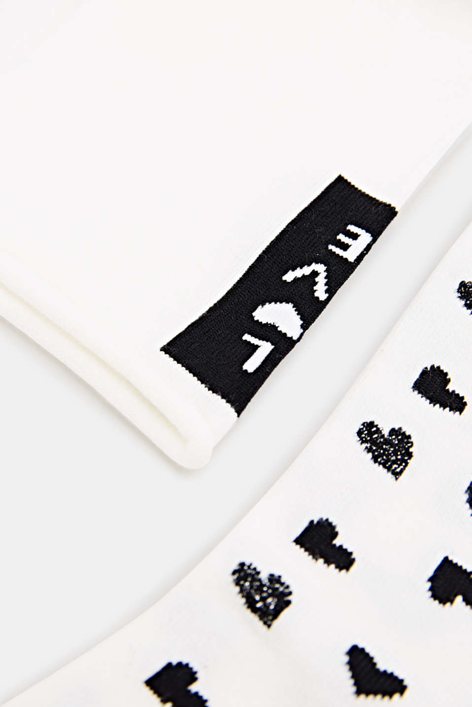 In a double pack: Socks with intarsia hearts, OFFWHITE, detail image number 1