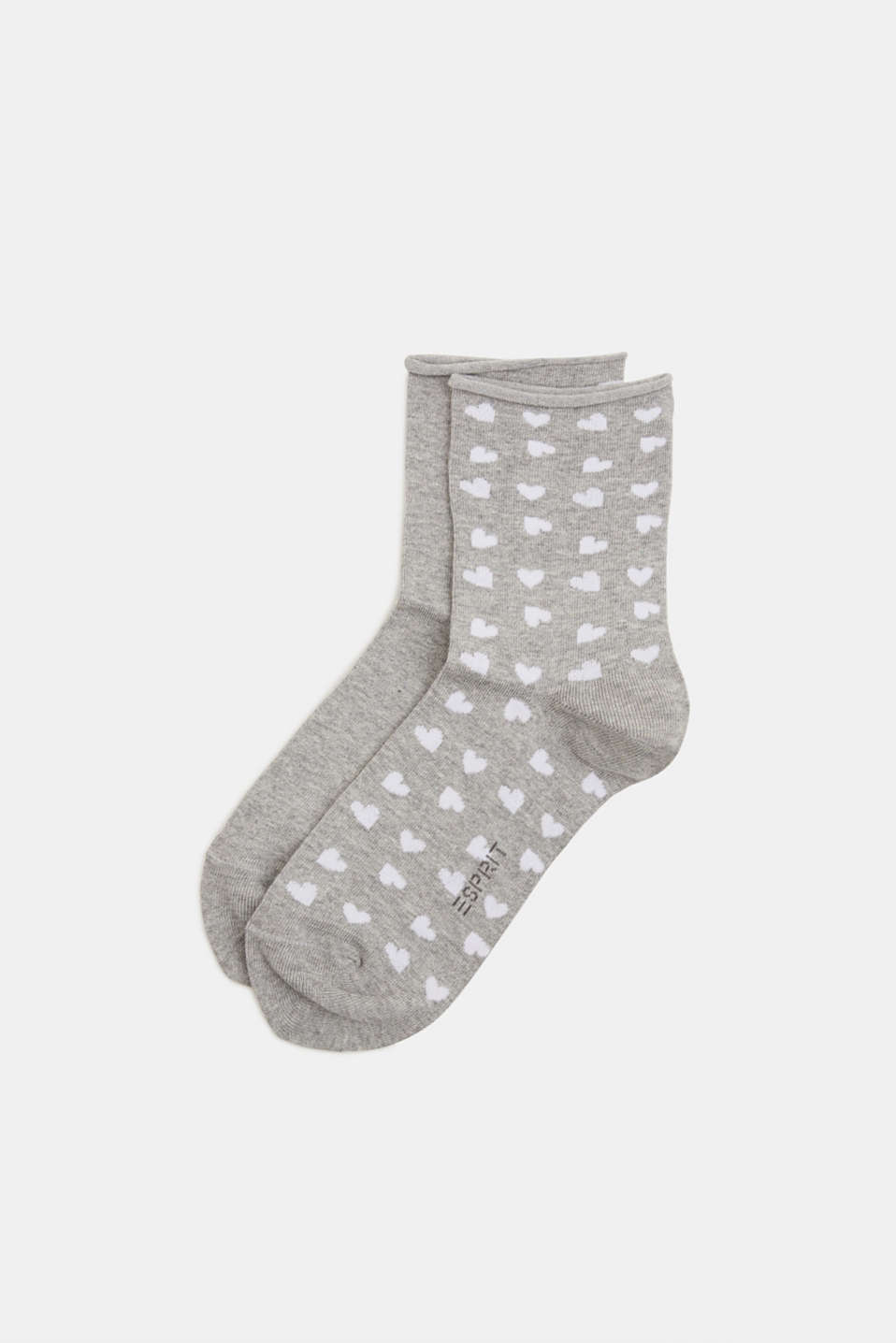 In a double pack: Socks with intarsia hearts, LIGHT GREY, detail image number 0