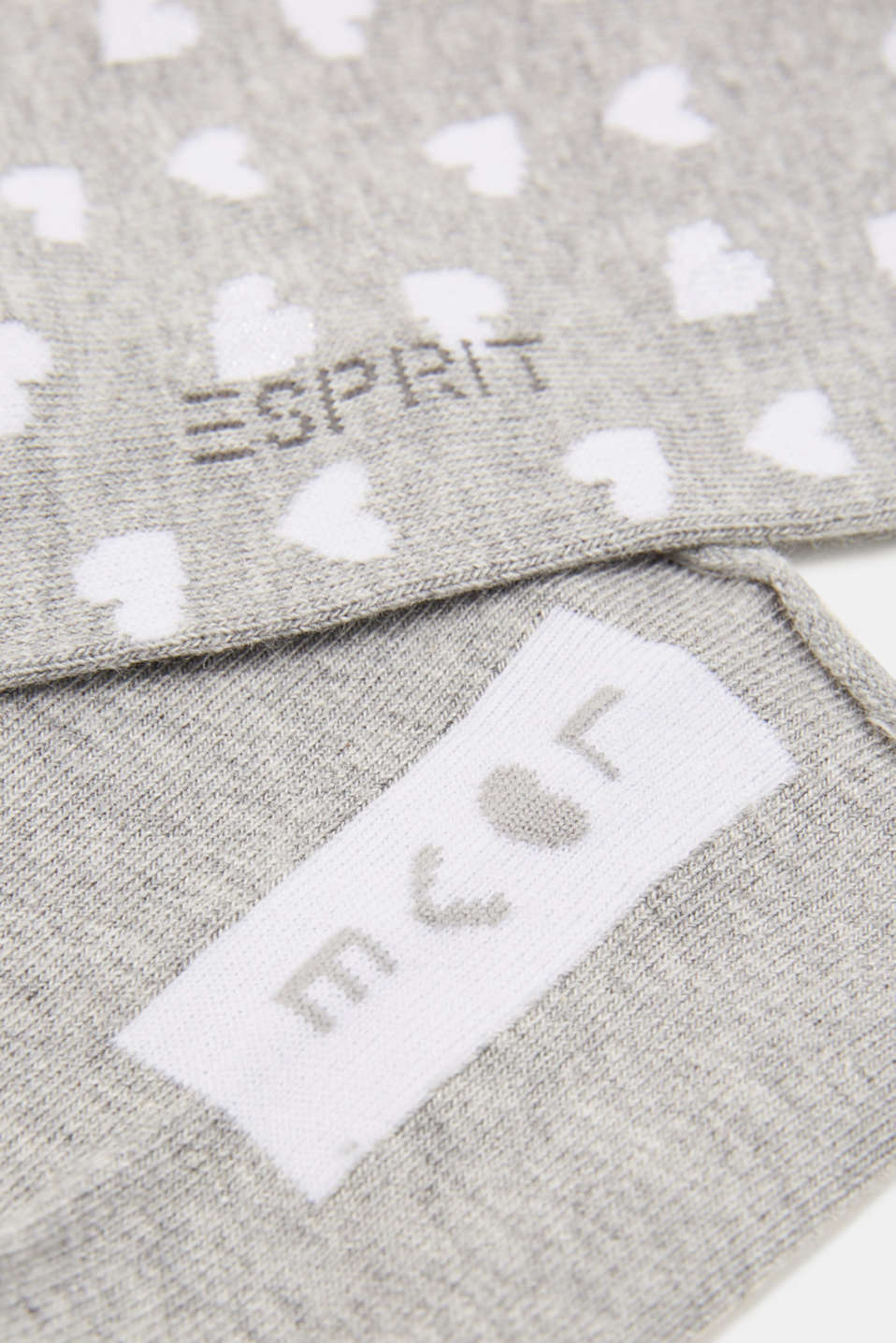 In a double pack: Socks with intarsia hearts, LIGHT GREY, detail image number 2