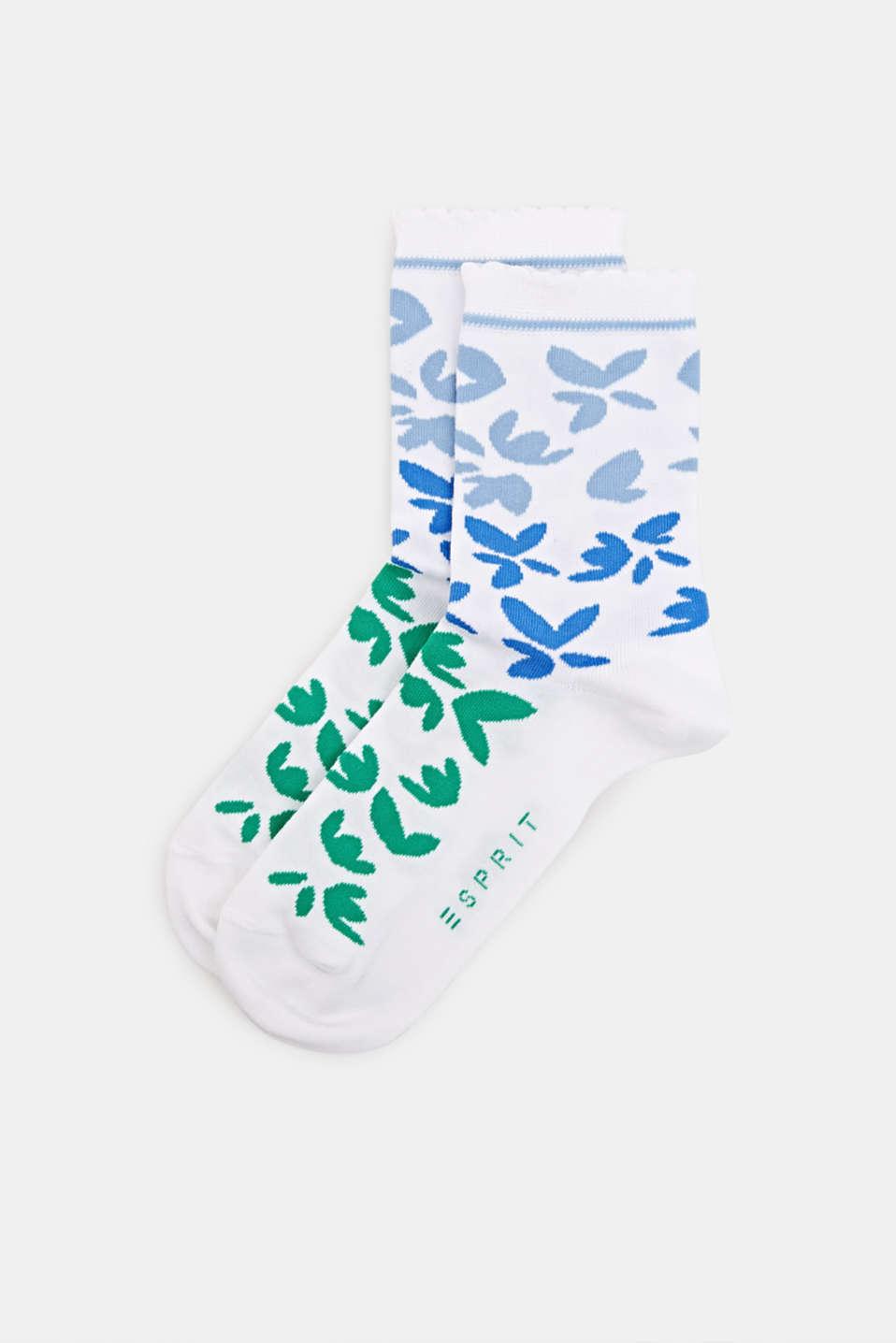 Floral patterned socks, WHITE, detail image number 0
