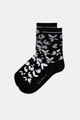 Floral patterned socks, BLACK, detail