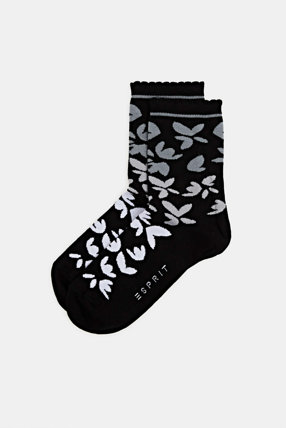 Floral patterned socks, BLACK, detail image number 0