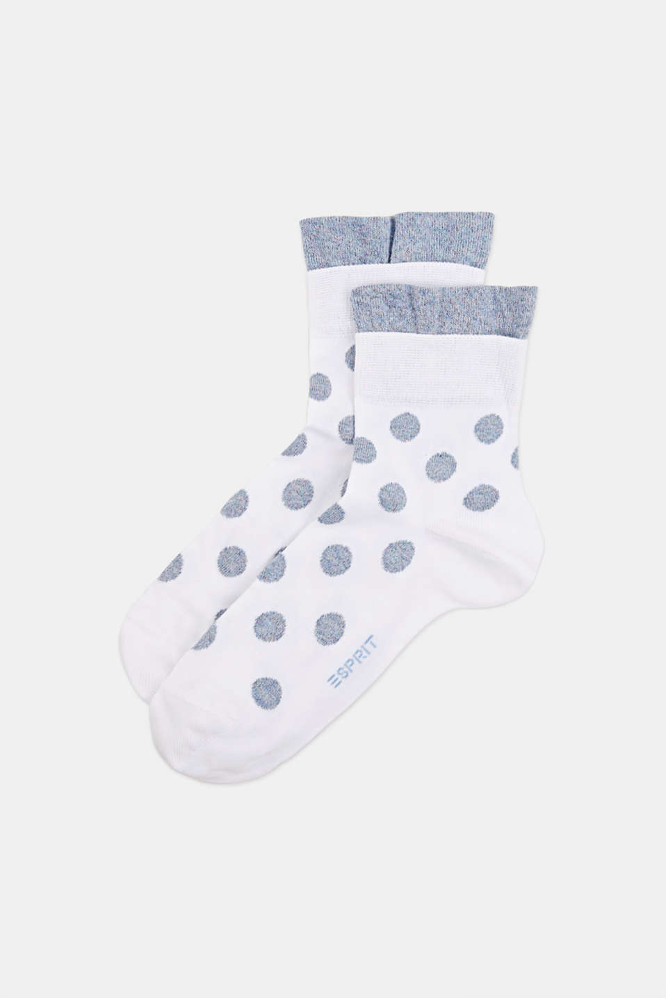 Socks with glittering polka dots, WHITE, detail image number 0