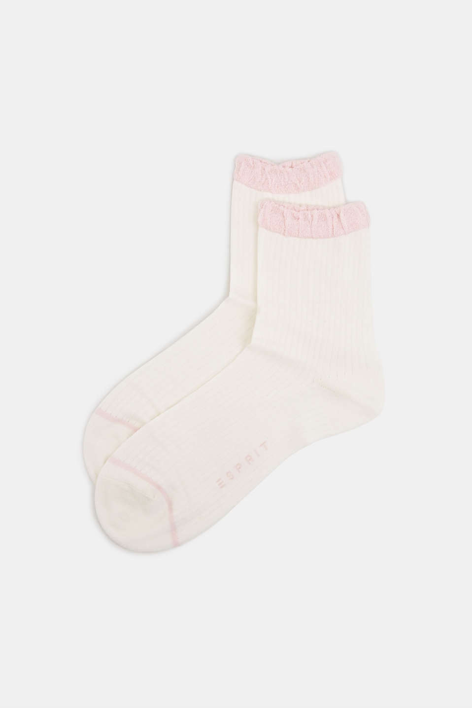 Ribbed socks in blended silk with frilled cuffs, OFFWHITE, detail image number 0