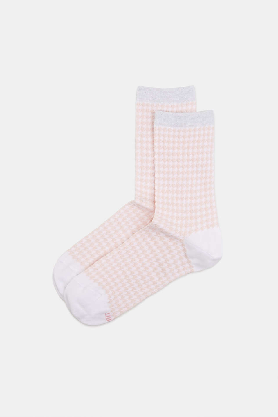Cotton blend houndstooth socks, WHITE, detail image number 0