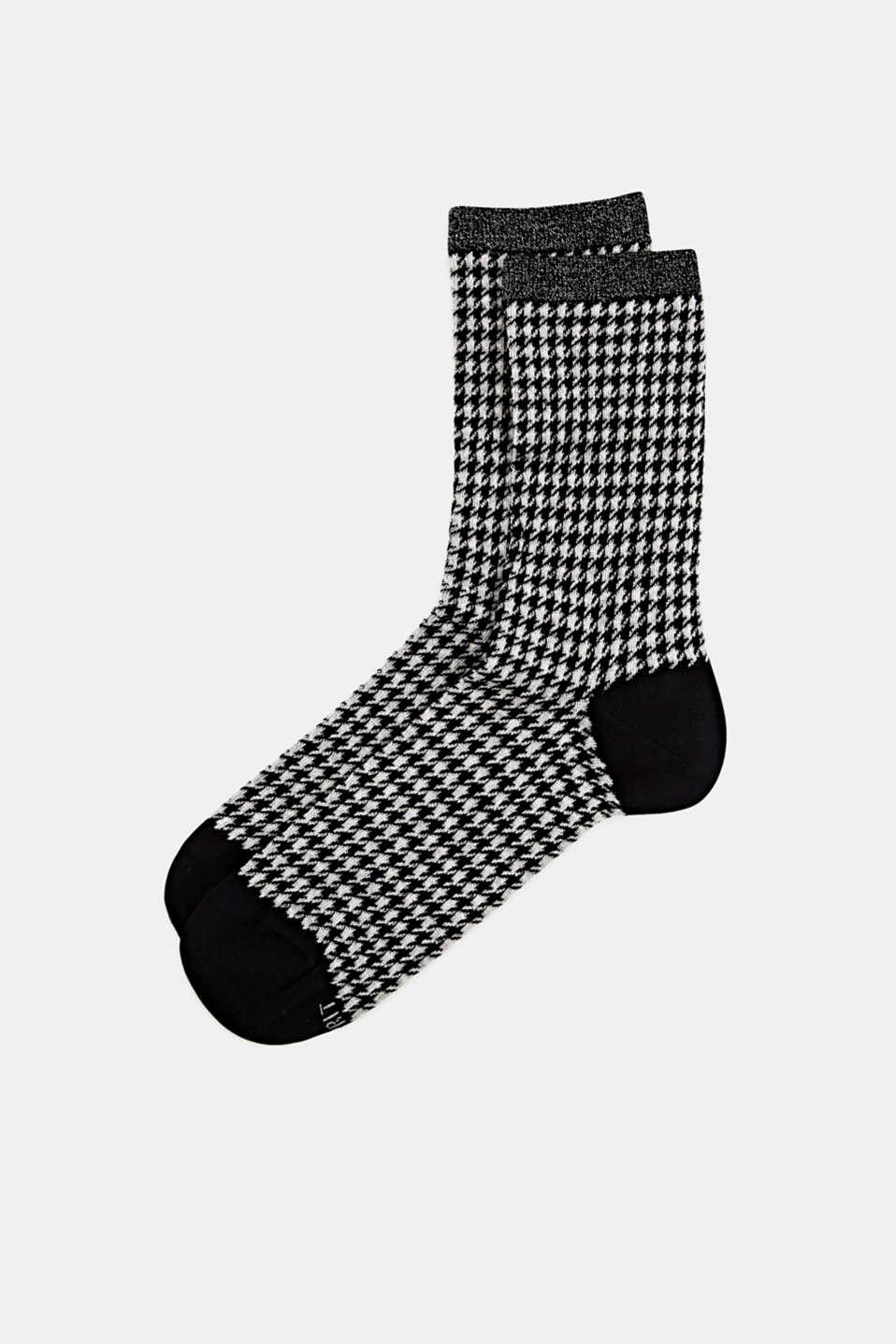 Cotton blend houndstooth socks, BLACK, detail image number 0