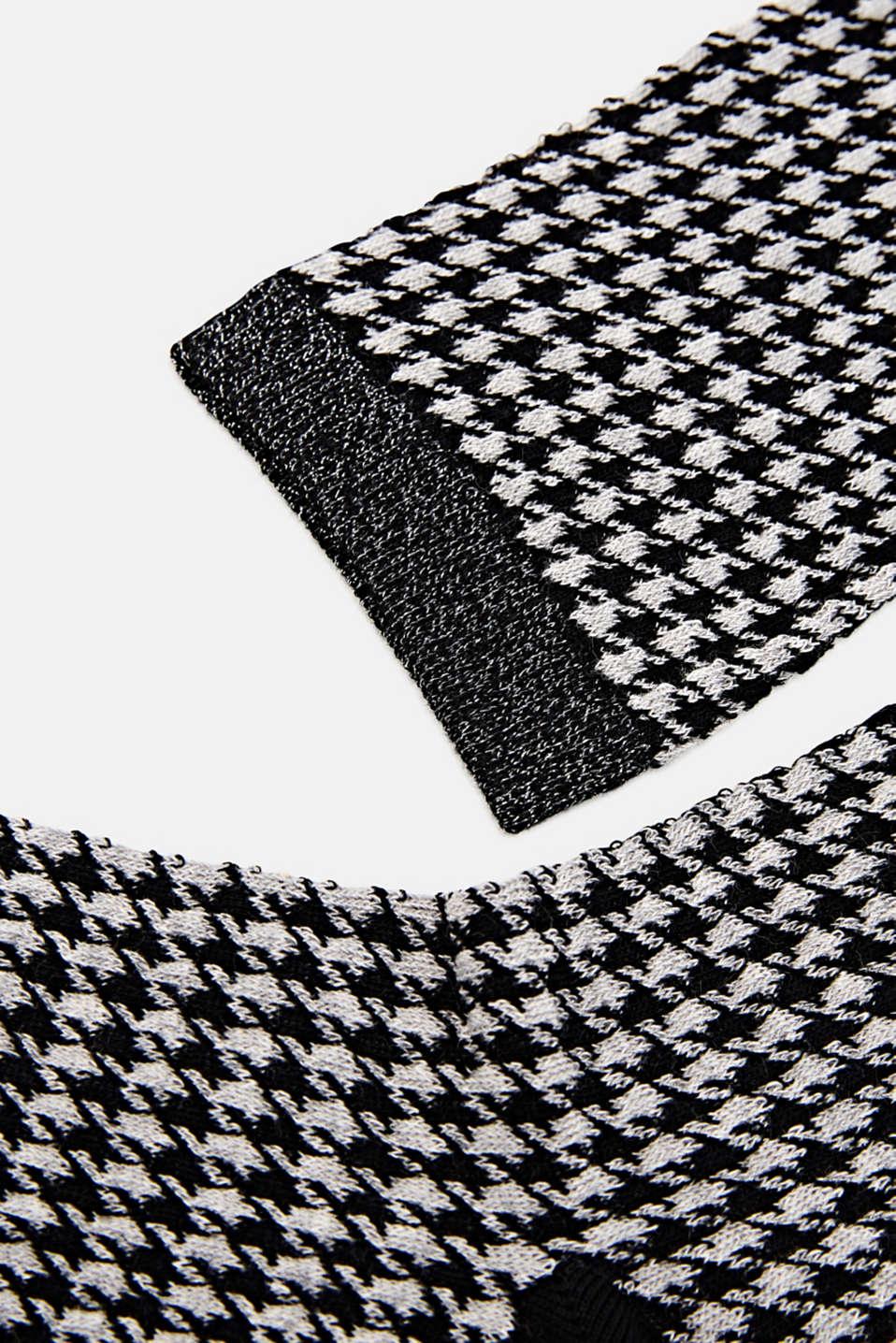 Cotton blend houndstooth socks, BLACK, detail image number 1