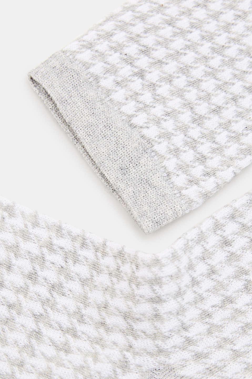 Cotton blend houndstooth socks, LIGHT GREY, detail image number 1