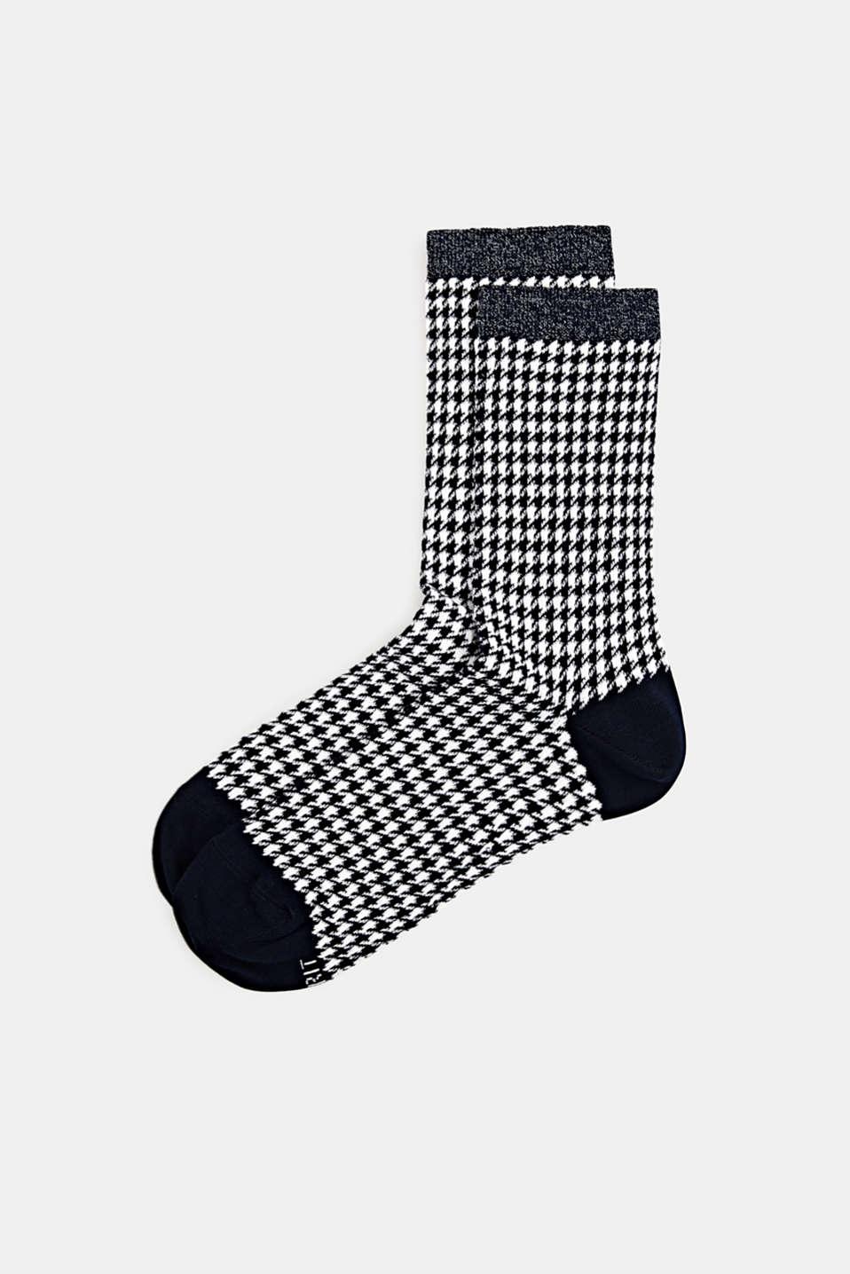 Cotton blend houndstooth socks, MARINE, detail image number 0