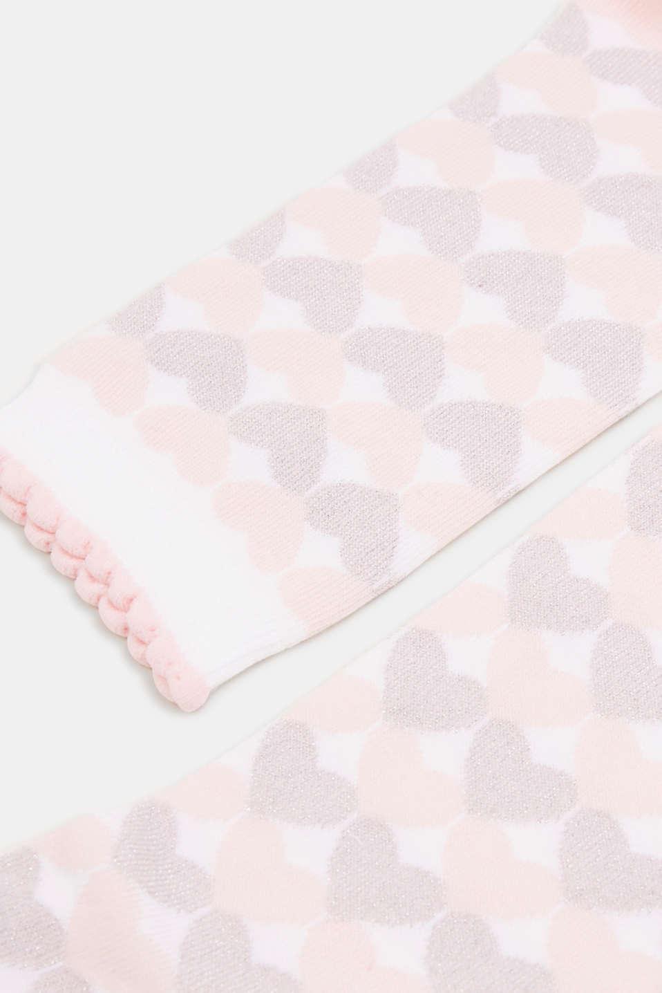 Glittering heart socks plus travel bag, ORCHID, detail image number 1