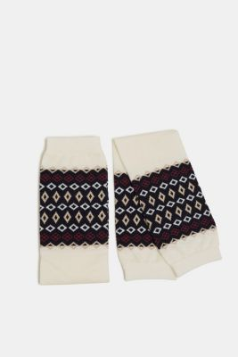 With wool: arm warmers with a jacquard pattern, WOOL WHITE, detail
