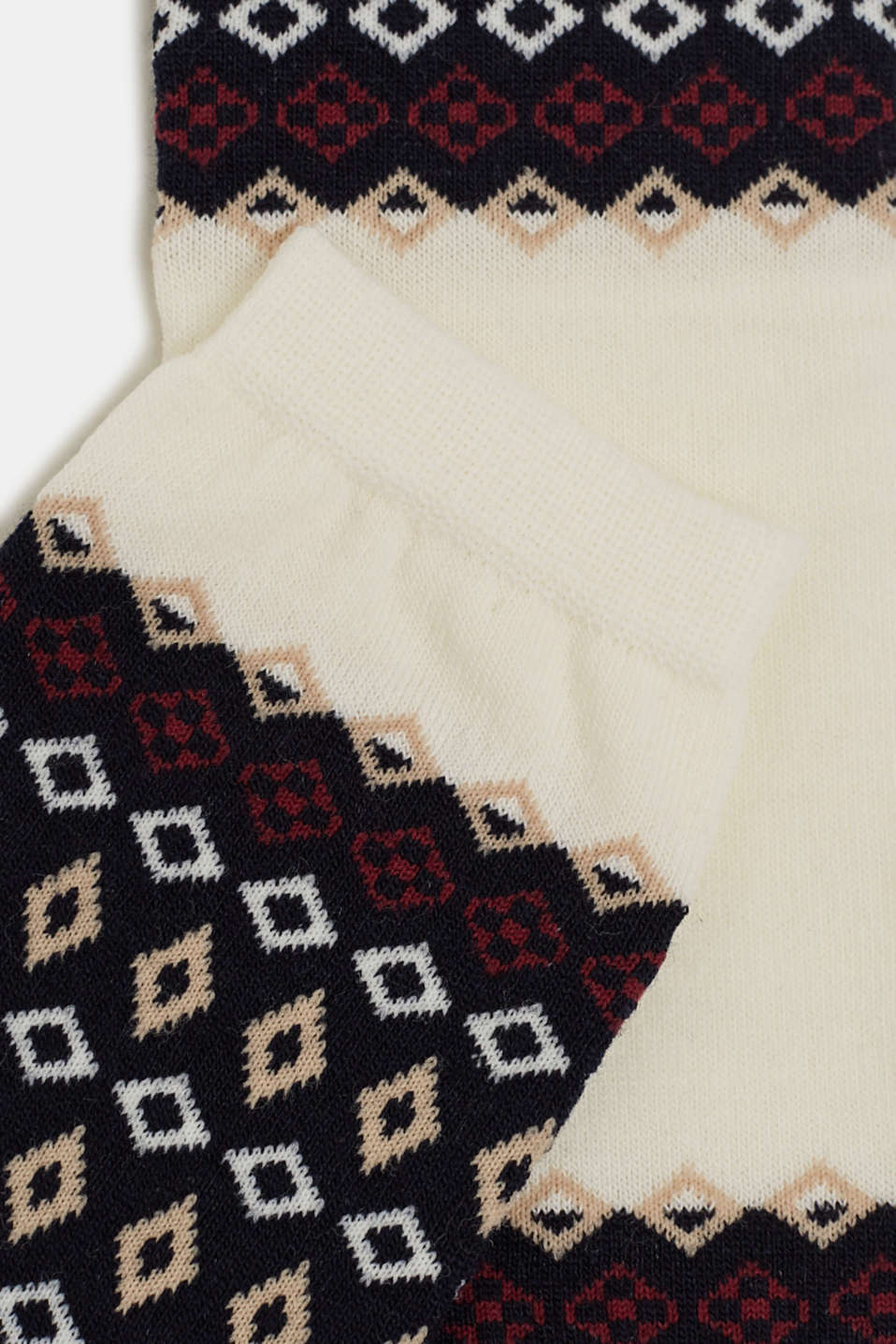 With wool: arm warmers with a jacquard pattern, WOOL WHITE, detail image number 1