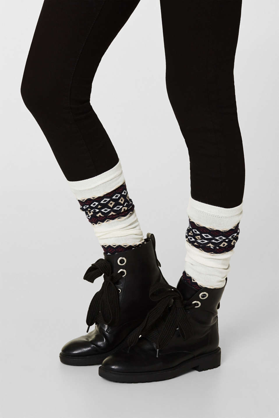 With wool: arm warmers with a jacquard pattern, WOOL WHITE, detail image number 2