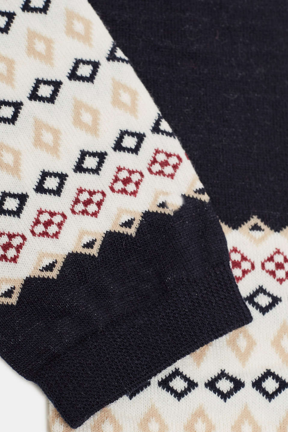 With wool: arm warmers with a jacquard pattern, MARINE, detail image number 1