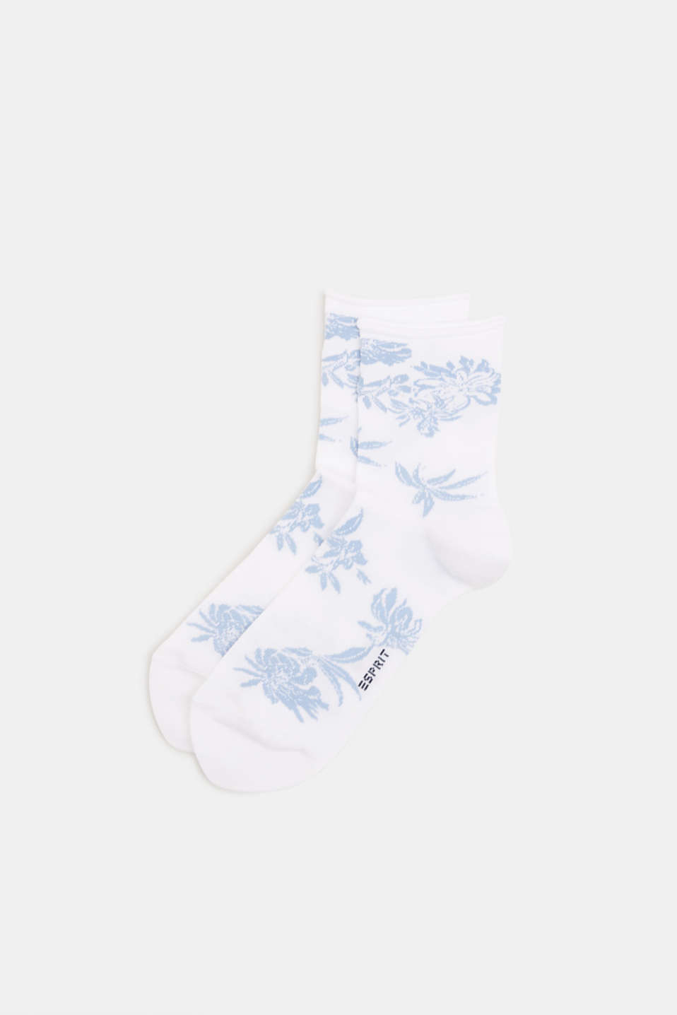 Fine knit socks with floral intarsia, WHITE, detail image number 0