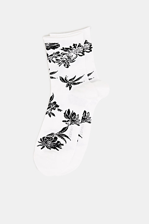 Fine knit socks with floral intarsia