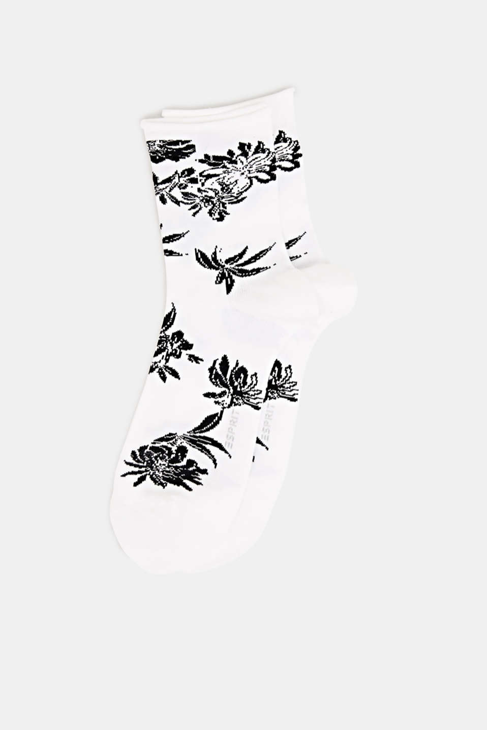Fine knit socks with floral intarsia, OFFWHITE, detail image number 0