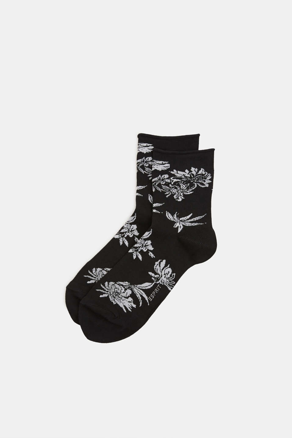 Fine knit socks with floral intarsia, BLACK, detail image number 0