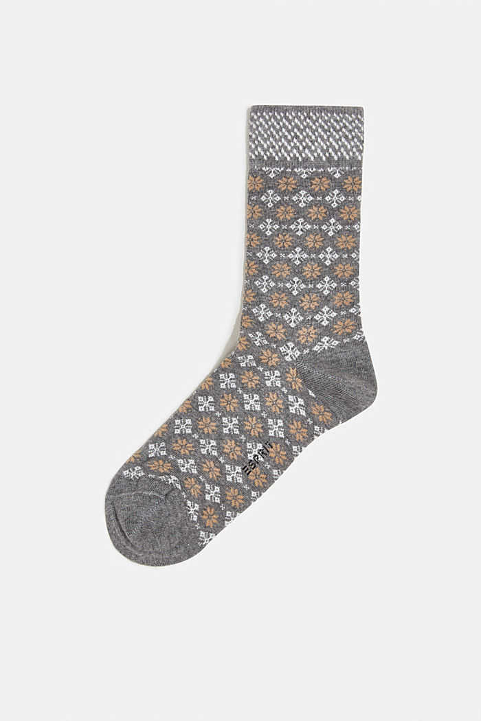 Socks with Fair Isle pattern, LIGHT GREY MELANGE, detail image number 0