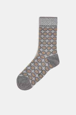 Socks with Fair Isle pattern, LIGHT GREY MELANGE, detail