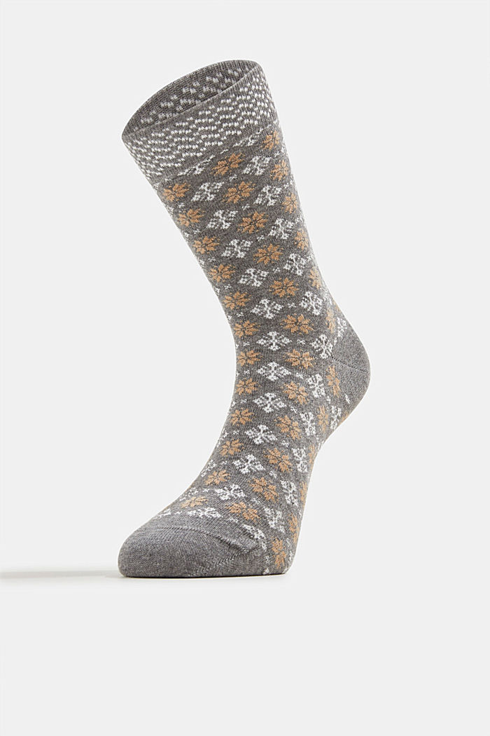 Socks with Fair Isle pattern, LIGHT GREY MELANGE, detail image number 1