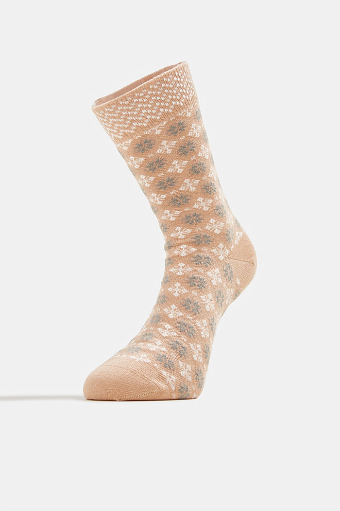 Socks with Fair Isle pattern, CAMEL, detail image number 1