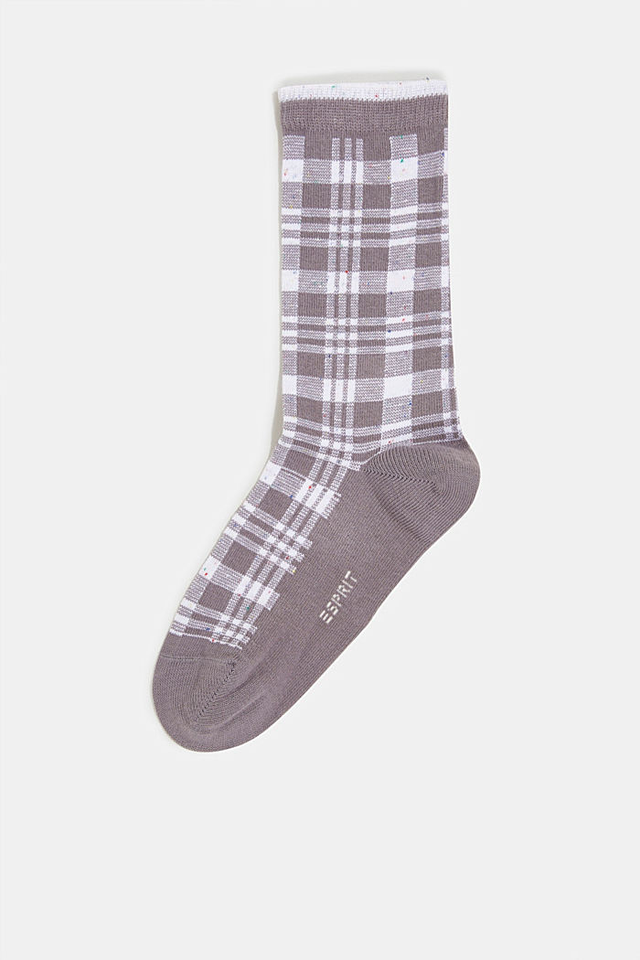 Socks with check pattern, LIGHT GREY MELANGE, detail image number 0