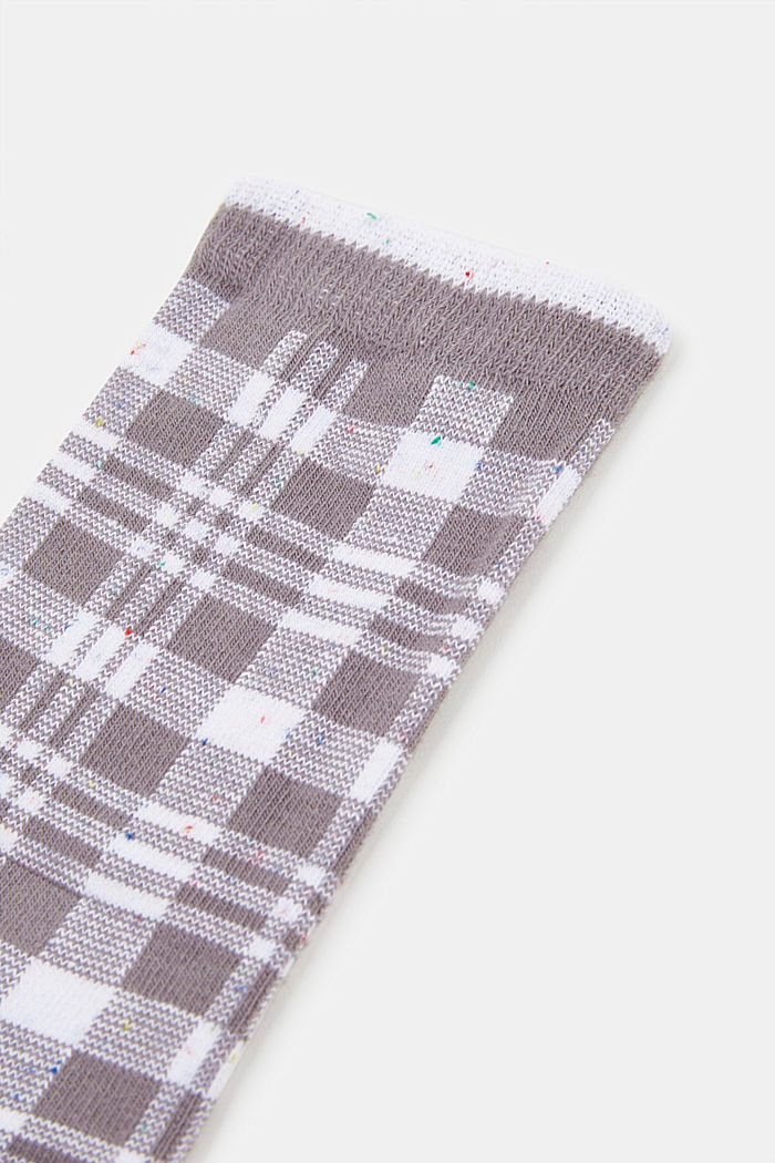 Socks with check pattern