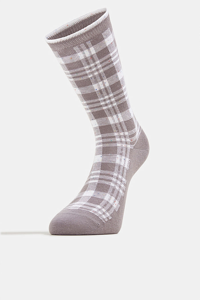 Socks with check pattern, LIGHT GREY MELANGE, detail image number 1