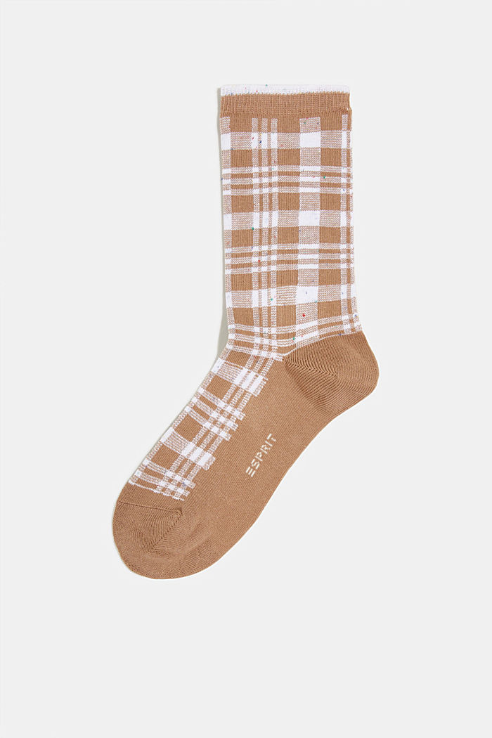 Socks with check pattern, CAMEL, detail image number 0