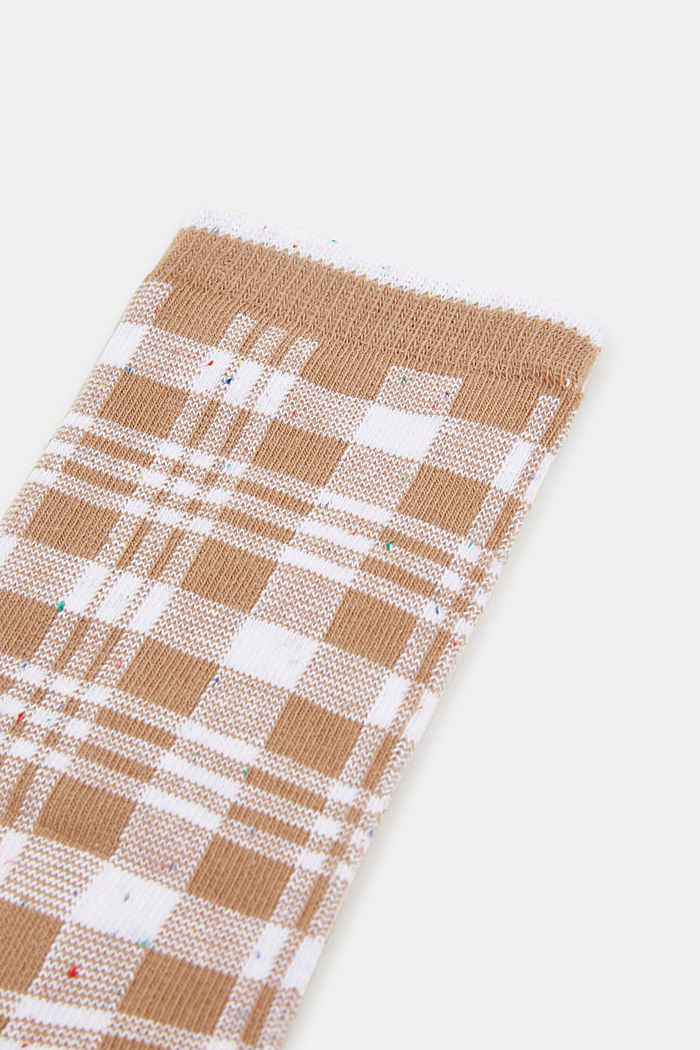 Socks with check pattern, CAMEL, detail image number 2
