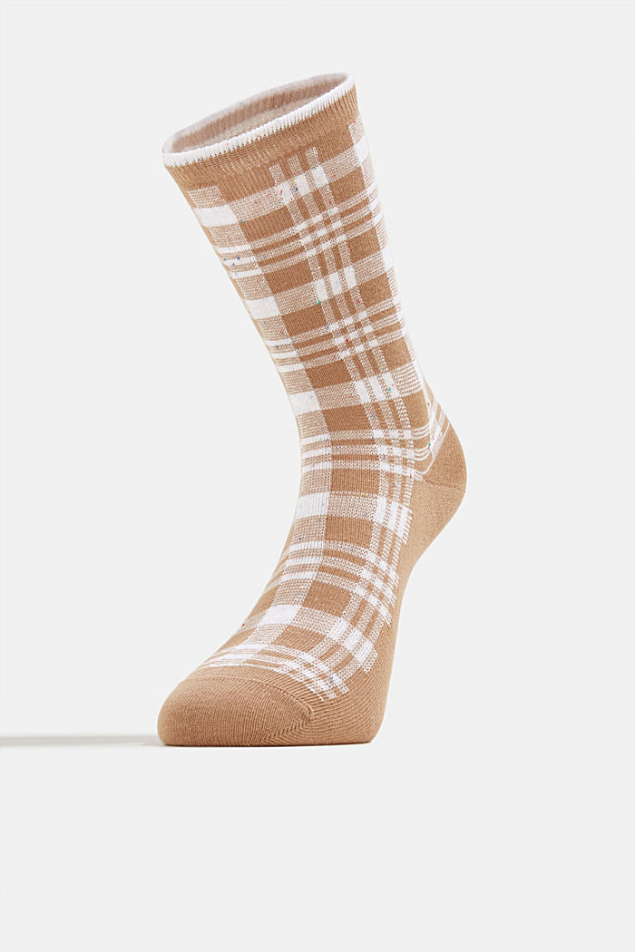 Socks with check pattern, CAMEL, detail image number 1