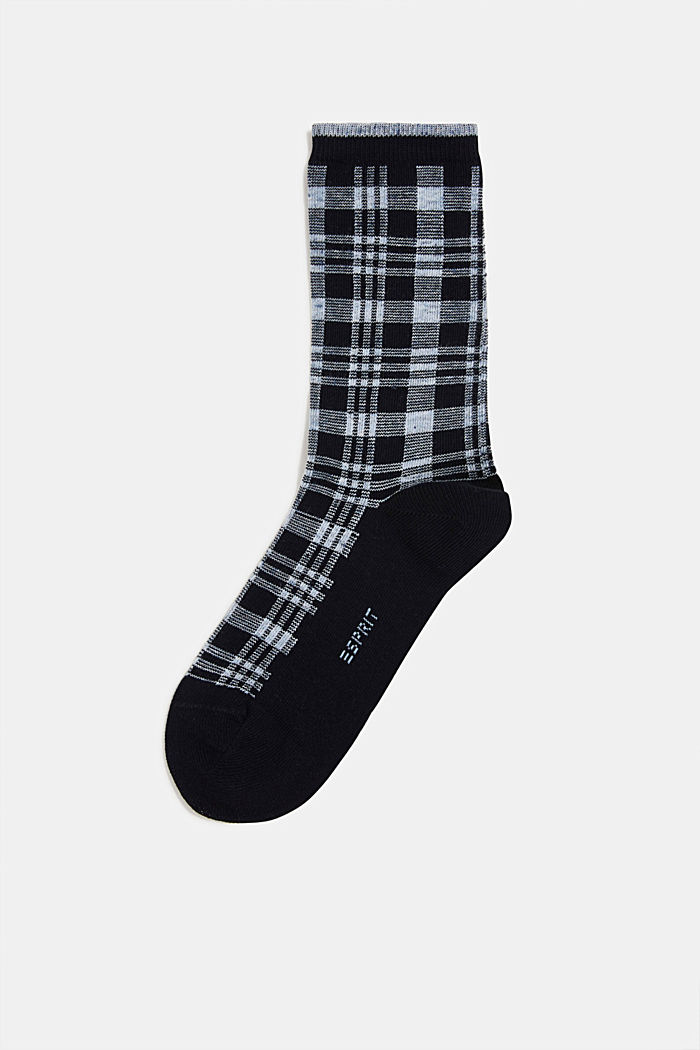 Socks with check pattern, MARINE, detail image number 0