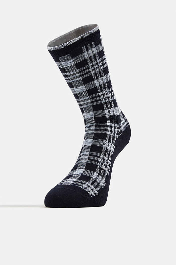 Socks with check pattern, MARINE, detail image number 1