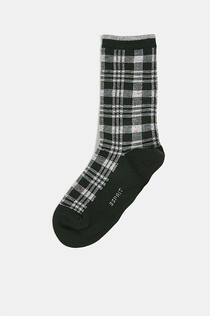Socks with check pattern, FIRE TREE, detail image number 0