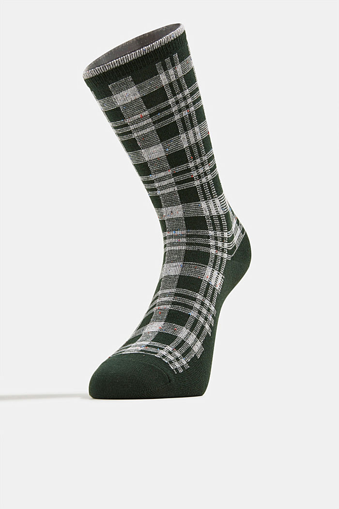 Socks with check pattern, FIRE TREE, detail image number 1